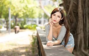 Bilder Asiaten Bokeh Posiert Braune Haare Blick Hand Mädchens