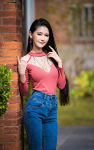 Bilder Asiatische Bokeh Posiert Brünette Lächeln Jeans Bluse Blick