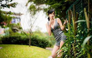 Bilder Asiaten Unscharfer Hintergrund Pose Kleid Dekolletee Hand Blick Mädchens