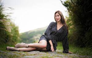 Picture Asian Bokeh Sit Dress Legs young woman