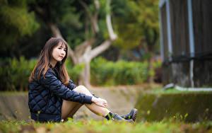 Bilder Asiaten Unscharfer Hintergrund Sitzt Bein Jacke Braune Haare junge frau