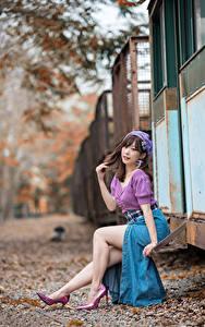 Hintergrundbilder Asiaten Unscharfer Hintergrund Sitzt Bein Rock Bluse Braune Haare Posiert junge frau