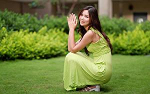 Hintergrundbilder Asiatische Bokeh Lächeln Kleid Blick Posiert Sitzt Mädchens
