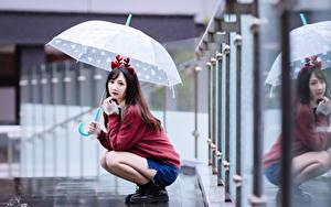 Bilder Asiatisches Bokeh Regenschirm Braunhaarige Sweatshirt Sitzend junge Frauen