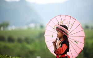 Hintergrundbilder Asiatisches Bokeh Regenschirm Kleine Mädchen Kinder