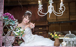 Pictures Asian Bouquets Bride Brown haired Frock Smile Beautiful young woman