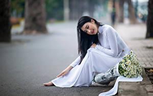 Fotos Asiatisches Blumensträuße Kamillen Unscharfer Hintergrund Sitzen Kleid Mädchens