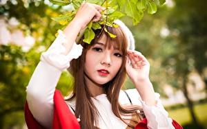 Hintergrundbilder Asiatische Ast Braunhaarige Blick Hand Bokeh junge Frauen