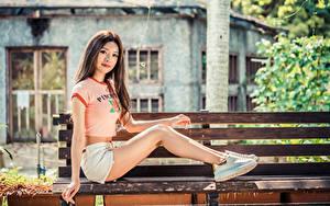 Hintergrundbilder Asiaten Braune Haare Bank (Möbel) Sitzend Bein Shorts T-Shirt Blick junge frau