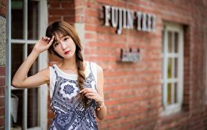 Fotos Asiatische Braunhaarige Unscharfer Hintergrund Zopf Hand Starren