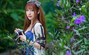 Hintergrundbilder Asiatische Braune Haare Ast Blick Fotoapparat Unscharfer Hintergrund junge frau
