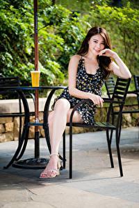 Fotos Asiatische Braune Haare Stuhl Sitzend Kleid Lächeln Blick junge frau