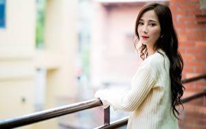 Hintergrundbilder Asiaten Braunhaarige Starren Bokeh Sweatshirt Zaun junge Frauen