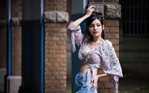 Bilder Asiaten Brünette Bluse Pose Blick Mädchens
