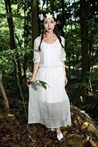 Fonds d'écran Asiatique Cheveux noirs Fille Tresse Couronne de fleurs Les robes