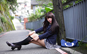 Wallpapers Asian Brunette girl Schoolgirls Sit Legs Knee highs Uniform Glance Beautiful Girls