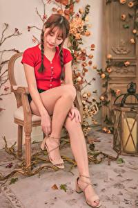 Bilder Asiatisches Stuhl Sitzend Bein Zopf Braune Haare junge Frauen