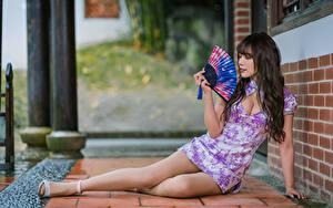 Bilder Asiatische Kleid Fächer Bein Brünette