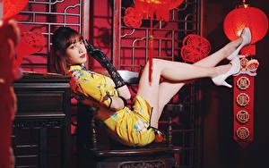 Image Asian Dress Legs High heels Glove Glance female