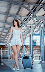 Desktop wallpapers Asian Gown Legs Suitcase Beautiful young woman