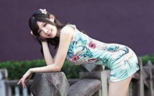Bilder Asiatische Kleid Pose Blick Hübscher Mädchens