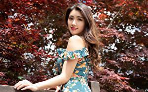 Hintergrundbilder Asiaten Kleid Posiert Starren Braune Haare junge frau