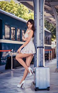 Wallpaper Asiatic Frock Suitcase Legs High heels Beautiful Girls