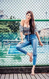 Desktop hintergrundbilder Asiatische Zaun Pose Jeans Bluse Starren Mädchens