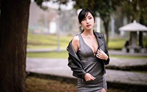 Hintergrundbilder Asiatische Blick Kleid Dekolleté junge frau
