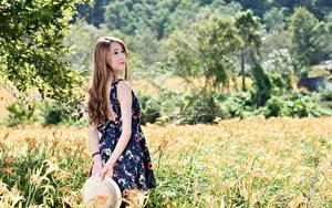 Hintergrundbilder Asiatische Gras Braunhaarige Unscharfer Hintergrund Der Hut Kleid