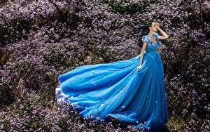 Hintergrundbilder Asiaten Gras Kleid Blau junge frau
