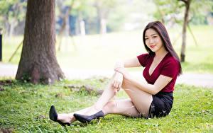 Hintergrundbilder Asiatische Gras Lächeln Braunhaarige Sitzend Bein High Heels Bokeh junge Frauen