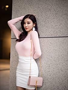 Hintergrundbilder Asiatisches Handtasche Brünette Pose Hand Rock Yang Chen Chen junge Frauen