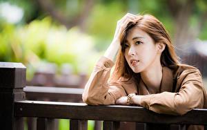 Hintergrundbilder Asiatische Hand Haar Blick Bokeh Mädchens
