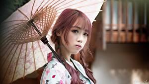 Fotos Asiatische Regenschirm Blick Bokeh Zopf Japanese junge Frauen