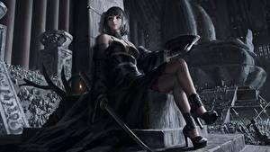 Desktop hintergrundbilder Asiaten Katana Krieger Sitzen Thron Bein Schwert High Heels Schöne GUWEIZ art, Z.W. Gu Fantasy Mädchens