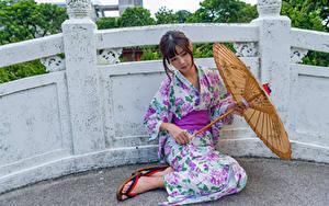 Picture Asian Kimono Parasol Sit young woman