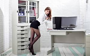 Photo Asian Office Secretaries Pose Skirt Legs Stilettos Pantyhose Beautiful female