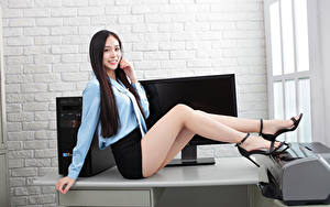 Picture Asiatic Office Secretaries Sitting Legs Skirt Blouse Smile Glance Beautiful young woman