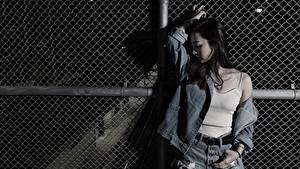 Hintergrundbilder Asiaten Posiert Brünette Jacke Hand Mädchens