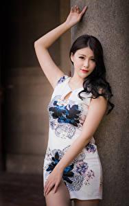 Hintergrundbilder Asiaten Pose Kleid Blick Mädchens