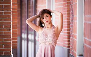 Fotos Asiatische Pose Kleid Hand Starren junge Frauen