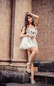 Fotos Asiatische Posiert Kleid Bein junge Frauen