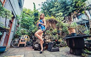 Fotos Asiaten Posiert Kleid Bein Starren junge Frauen