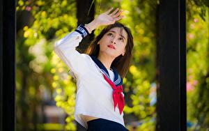 Fotos Asiatisches Posiert Hand Bluse Krawatte Schulmädchen Unscharfer Hintergrund junge Frauen