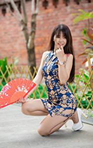 Bilder Asiaten Posiert Bein Kleid Fächer Unscharfer Hintergrund