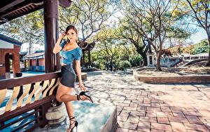 Hintergrundbilder Asiatische Posiert Bein Rock Bluse Blick