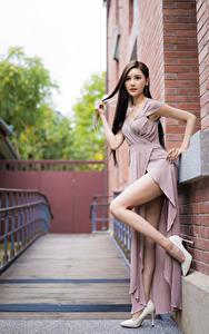 Hintergrundbilder Asiaten Pose Bein Stöckelschuh Kleid Blick