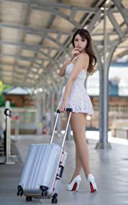 Photo Asian Posing Legs High heels Suitcase Bokeh Beautiful Girls