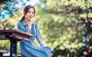 Bilder Asiatisches Posiert Sitzend Blick Bokeh Mädchens